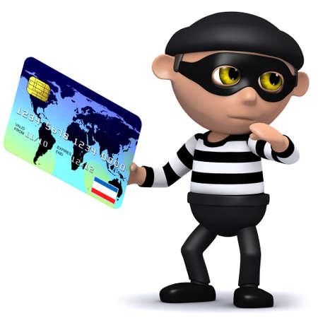 snoop: 3d render of a burglar stealing a credit card