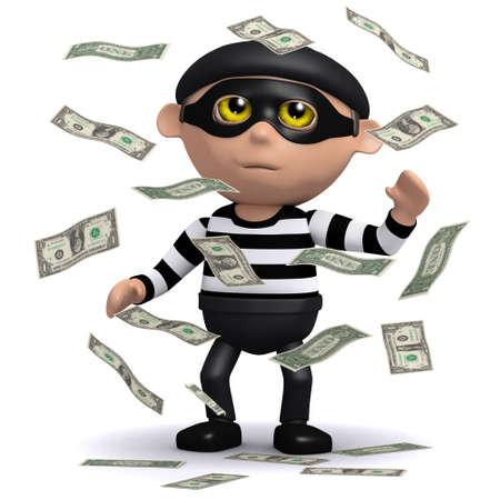 snoop: 3d render of a burglar  in a cloud of money