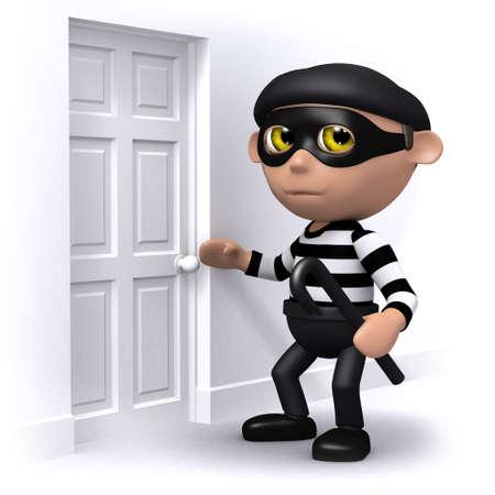 snoop: 3d render of a burglar at a front door
