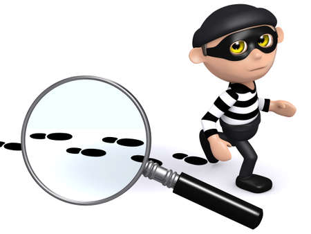 snoop: 3d render of a burglar leaving footsteps behind Stock Photo