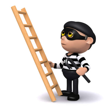 sneaky: 3d render of a burglar about to climb a ladder