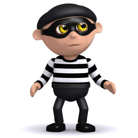 burglar man: 3d render of a burglar looking guilty