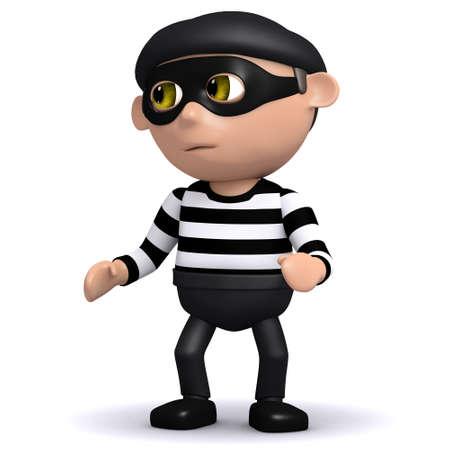 villain: 3d render of a burglar