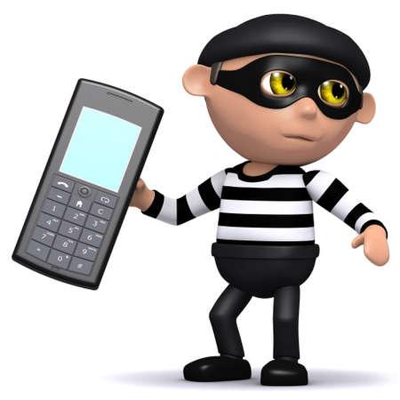 snoop: 3d render of a burglar taking a mobile phone Stock Photo