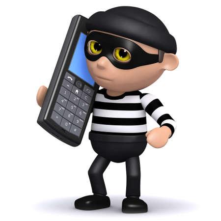 snoop: 3d render of a burglar using a mobile phone