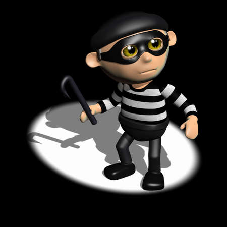 robbery: 3d render of a burglar caught in a spotlight