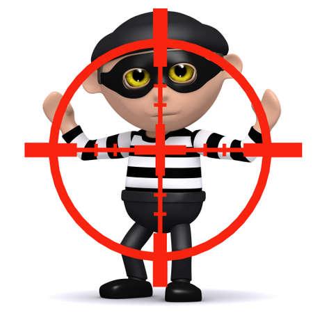burglar man: 3d render of a burglar being targeted