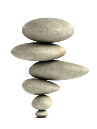 manner: 3d render of stones balanced in an impossible manner Stock Photo