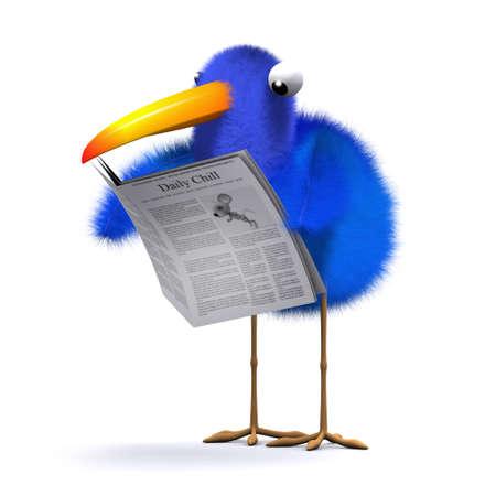 tabloid: 3d render of a blue bird reading a newspaper