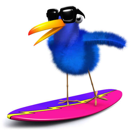 bluebird: 3d render of a blue bird surfing