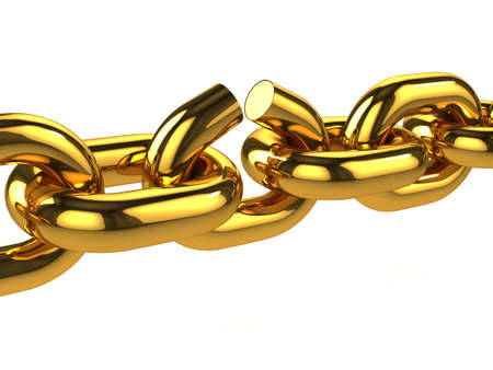 3d render of a broken gold chain photo