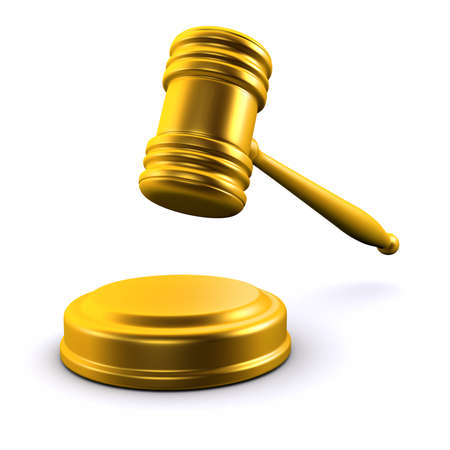 mid air: 3d render of a golden gavel in mid air