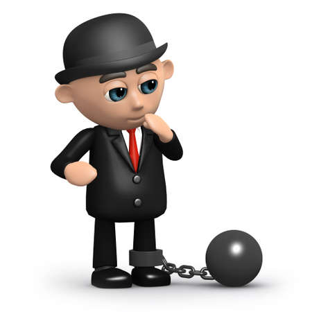3d render of a businessman with ball and chain photo