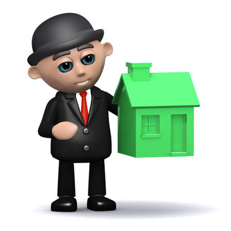 lending: 3d render of a businessman with a small green house