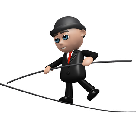 tightrope: 3d render of a businessman on a tightrope Stock Photo