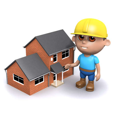 3d render of a builder next to a house photo