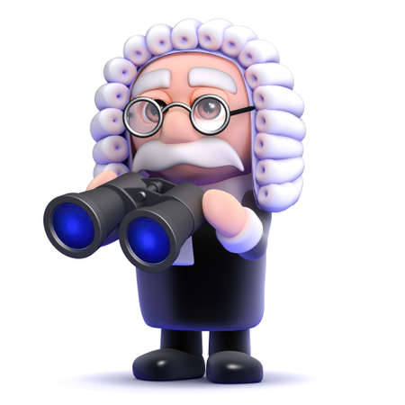 barrister: 3d render of a judge holding binoculars Stock Photo