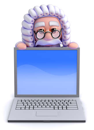 litigation: 3d render of a judge looking over a laptop