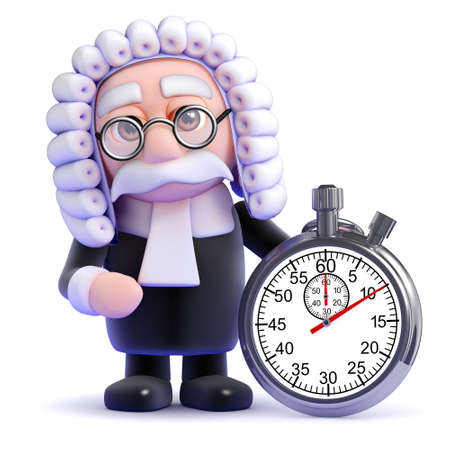 judiciary: 3d render of a judge next to a stopwatch