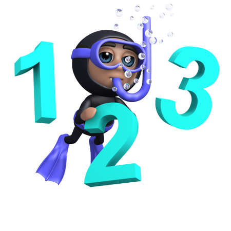 3d render of a diver with numbers 1, 2 and 3 photo