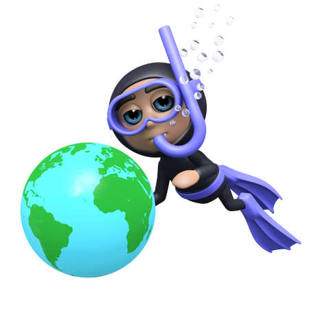 3d render of a diver with a globe photo