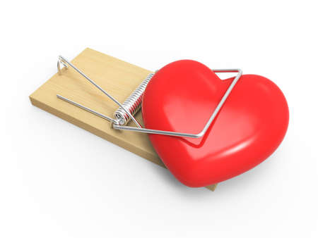 mousetrap: 3d render of a mousetrap with trapped heart Stock Photo