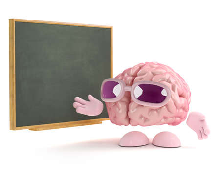 3d render of a brain standing next to a blackboard photo