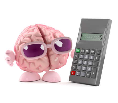 sums: 3d render of a brain with a calculator