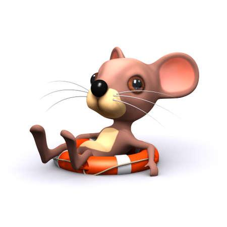 �ber Wasser: 3D-Darstellung von einer Maus �ber Wasser auf einem Lifering machen