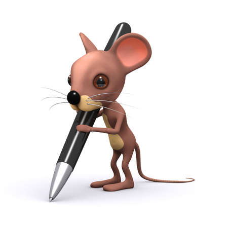 3d render of a mouse writing with a pen photo