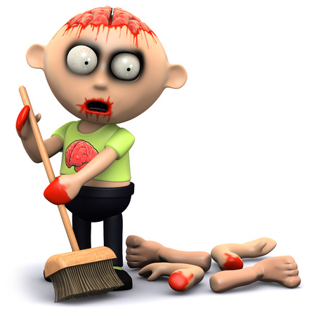 3d render of a zombie sweeping up the limbs
