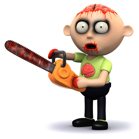 3d render of a zombie with a bloody chainsaw photo