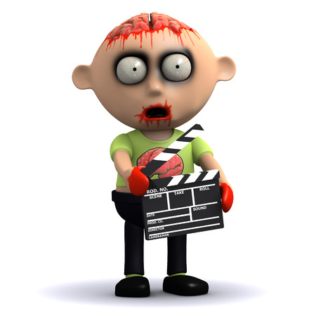 3d render of a zombie with a clapperboard photo