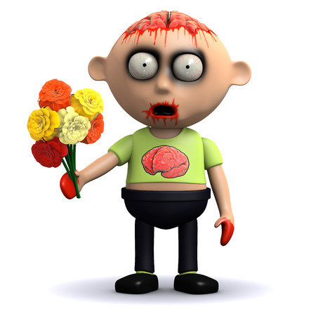 corpse flower: 3d render of a zombie with a bunch of flowers
