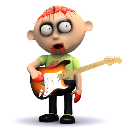 3d render of a zombie with a guitar photo