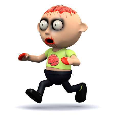 gruesome: 3d render of a zombie running Stock Photo