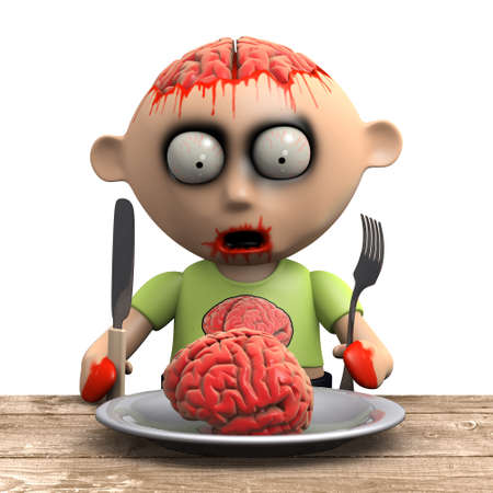 undead: 3d render of a zombie at the dinner table