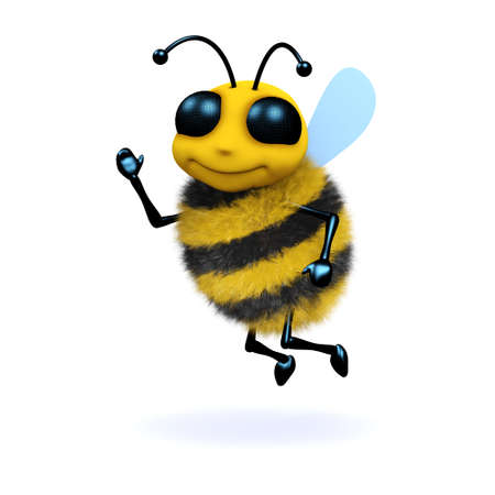 3d render of a bee waving his hand in greeting photo