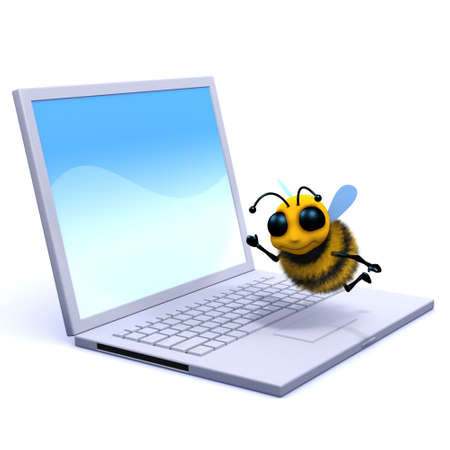 buzzing: 3d render of a bee buzzing over a laptop