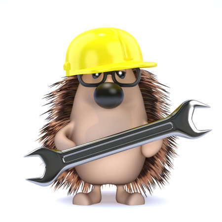 garden maintenance: 3d render of a hedgehog in a hard hat holding a spanner