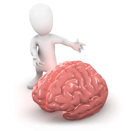 3d render of a little person next to a brain photo