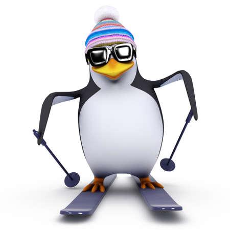 penguin: 3d render of a penguin on skis