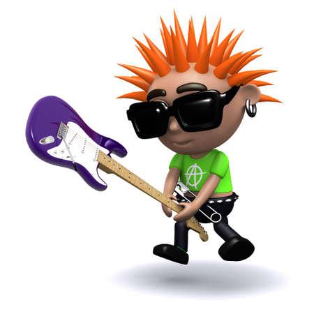 smashing: 3d render of a punk smashing an electric guitar