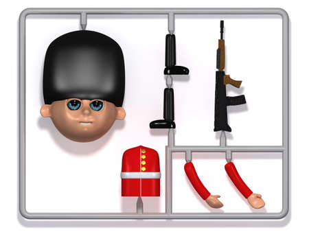 plastic soldier: 3d render of a plastic soldier construction kit Stock Photo