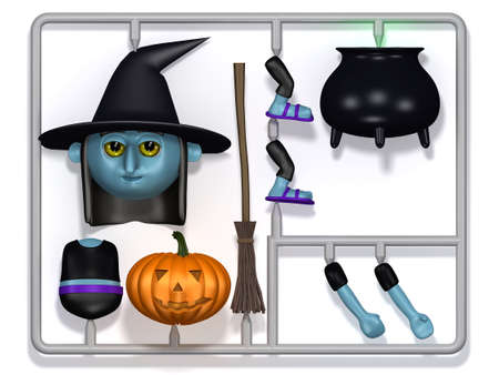 cursed: 3d render of a plastic witch construction kit Stock Photo