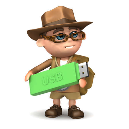3d render of an explorer holding a USB stick photo