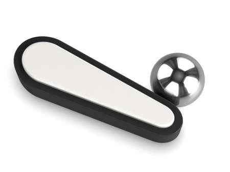 pinball: 3d render of a pinball flipper and chrome ball