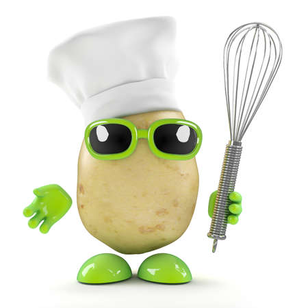 3d render of a potato wearing a chefs hat and holding a whisk photo