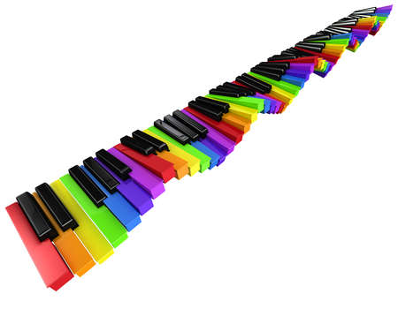 fluctuate: 3d render of a multi colored piano keyboard