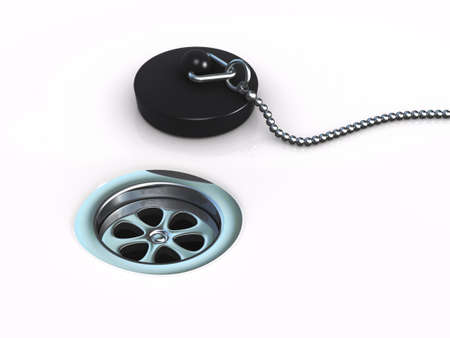 3d render of a drain hole and plug photo
